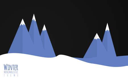 enviroment: A flat minimalistic vector illiustration of winter enviroment, mountains, snow.