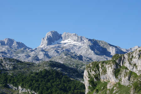 Peak with snow at Peaks of Europe, covadonga lakes, spain
