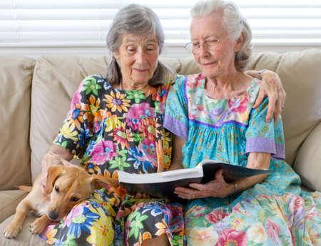 companionship: Dos señoras de edad avanzada Leer un libro