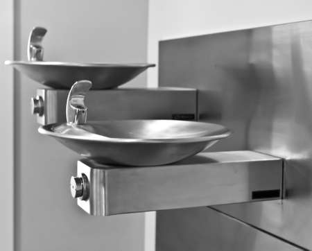 safe water: Two Stainless Steel Drinking Fountains, side view