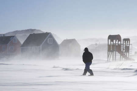 snow drift: Inuit man walking home in a winter storm, Greenland Stock Photo
