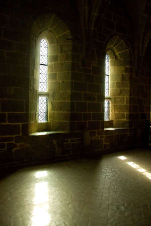 Light streaming through two windows, Mont St Michel, Normandy, France