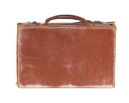 grungy isolated: Battered old fashioned brown leather vintage suitcase, isolated on white Stock Photo