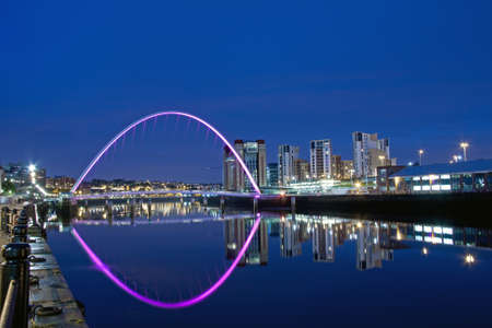 Millenium Bridge between Newcastle upon Tyne and Gateshead, England, at Night