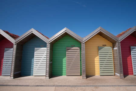 Row of Beach Huts in Blyth, Northumberland, UK Stock Photo - 10017485