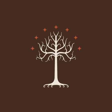 Albero Bianco di Gondor. Simbolo isolato di storia, libro, film