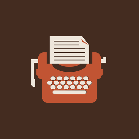 Isolated typewriter icon. Flat Vector retro equipment for writers and journalists.