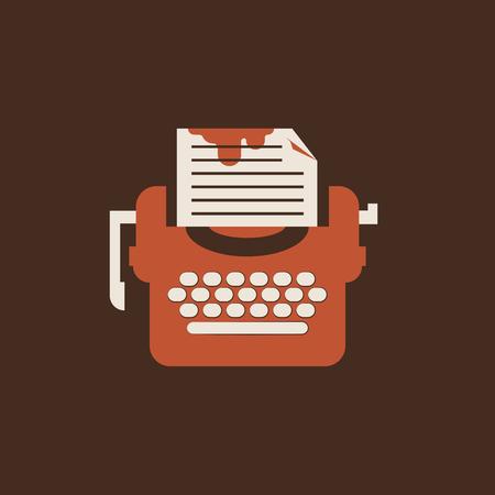 Icona della macchina da scrivere isolata. Piatto vettoriale per giornalisti Vettoriali