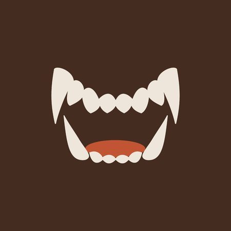 White Fang teeth icon isolated on neutral background. Book Vector art. Ilustracja