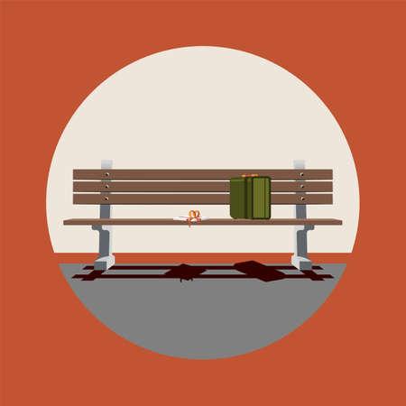 Stilisiertes Forrest Gump-Filmsymbol. Betrieb. Das Leben ist eine Pralinenschachtel Vektorgrafik