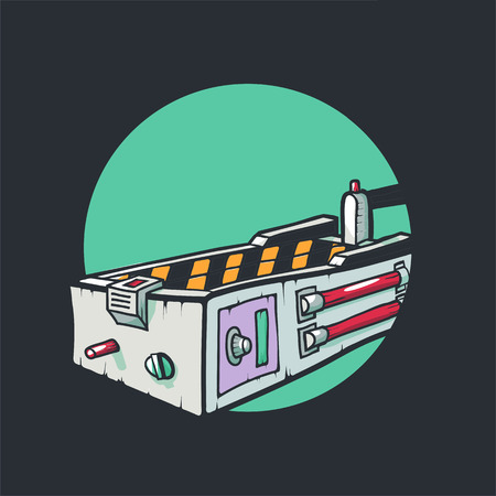 Ghostbusters movie icon. A trap for ghosts isolated on green background. Vector illustration close-up.