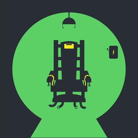 Krzesło elektryczne Wektor ikona na zielonym tle Ilustracje wektorowe