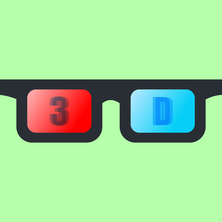Front view of a pair of 3D glasses Isolated on greenbackground.