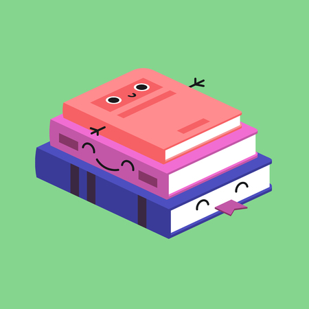 Accustom card for children. Smiling Cute Stack of Colored Books. Proper duties and activities kit, care concept. Flat vector illustration.