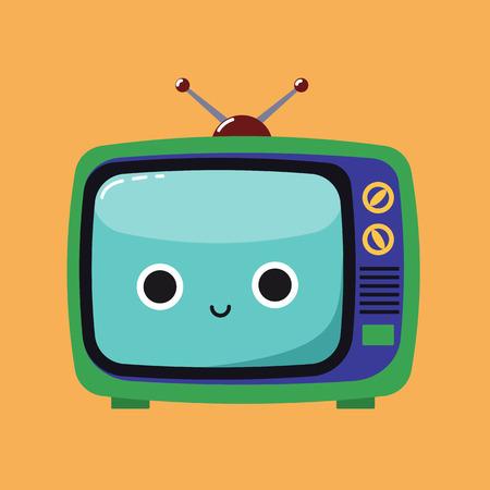 Carta di abitudine per i bambini. Sorridente Cute Cartoon illustrazione di un vecchio televisore con un'espressione felice. Corrette funzioni e kit di attività, concetto di cura. Illustrazione vettoriale piatto.
