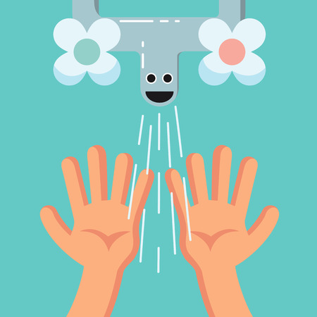 Accustom card for children. Smiling Cute washing hands of a kid. Proper duties and activities kit, care concept. Flat vector illustration. Illustration