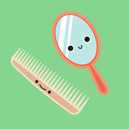 Smiling Cute Comb and Mirror, Habituate kid card or poster. Stock Vector - 117892082