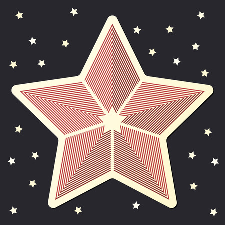 Stripped Red star icon sticker on dark starred background