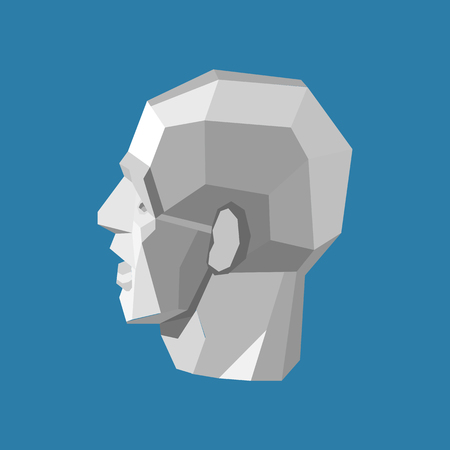 Abstract human head stylized as a white triangulated sculpture. Isolated vector illustration Illustration