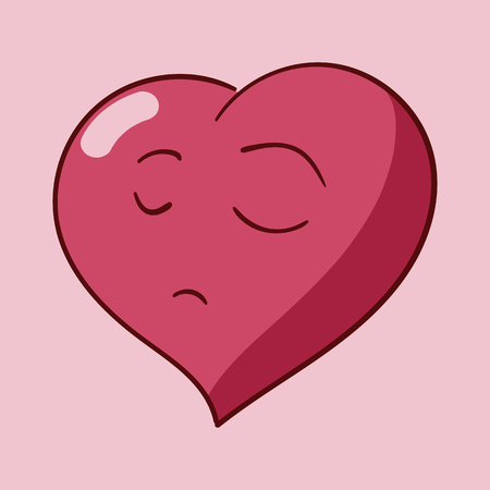 Funny cartoon heart character emotions, St Valentines vector icons set on rose background Stock Vector - 117892154