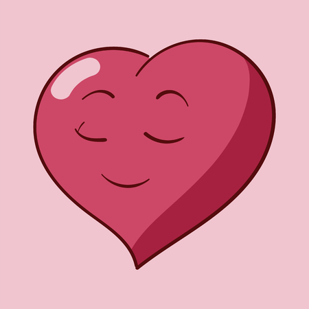 Funny cartoon heart character emotions, St Valentines vector icons set on rose background