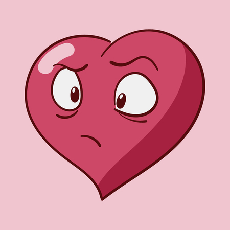 Funny cartoon heart character emotions, St Valentines vector icons set on rose background Stock Vector - 117892156