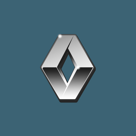 Vector of siver 3D Renault logo with black side on blue background.