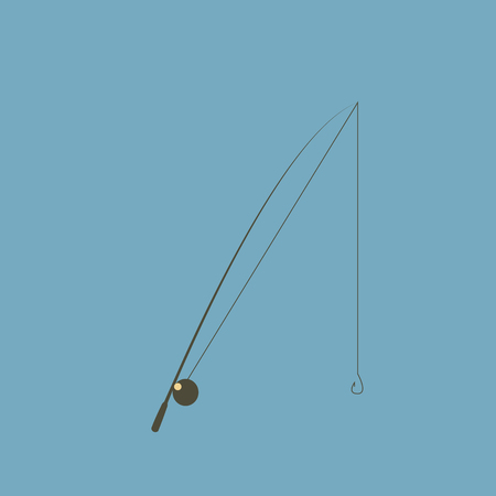 Fishing rod isolated on white background. Illustration