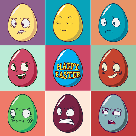 Easter eggs emoji set. Cute funny emotional icons. Happy emoticons. Vector illustration.