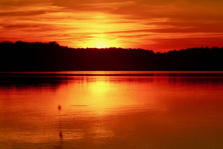 Red Sunset with reflection on the lake
