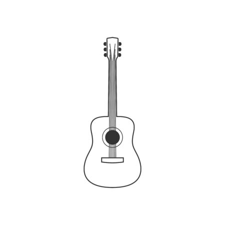 Acoustic guitar black and white icon. Isolated Vector String ill. Illustration