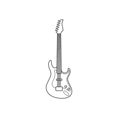 Electro guitar black and white icon. Isolated Vector String set.