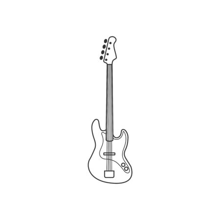 Bass guitar black and white icon. Isolated Vector String set.