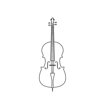 Classical cello black and white icon. Isolated Vector String ill. 矢量图像