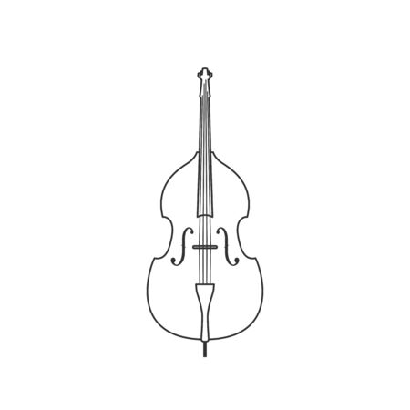 Contrabass black and white icon. Isolated Vector String ill.