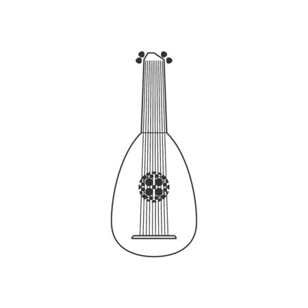 Lute flat black and white icon. Isolated Vector String ill.