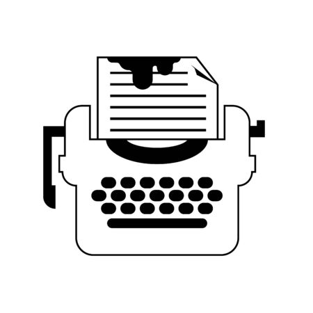 Isolated black and white drama typewriter icon. Flat Vector for writers