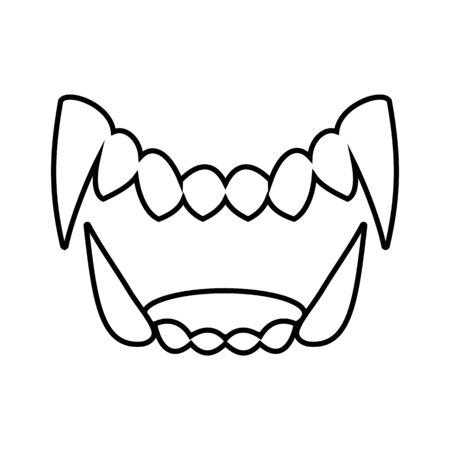 Isoliertes Schwarz-Weiß-Drama White Fang Symbol