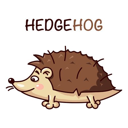 Vector illustration of cute hedgehog isolated on transparent background with the name-letters.