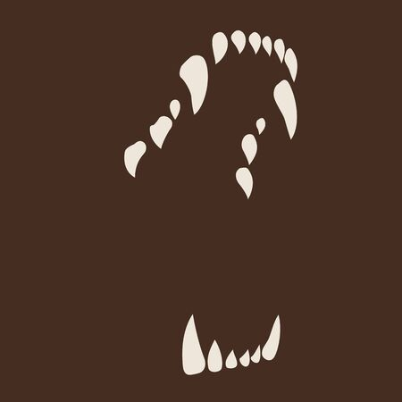 White Fang icon isolated on neutral brown background.