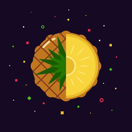 pineapple fruit sphere with half slice on abstract fresh background, flat icon design template concept