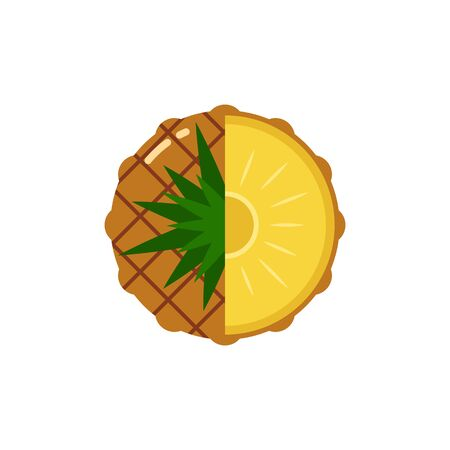 pineapple fruit sphere with half slice isolated on white background, flat icon design template concept