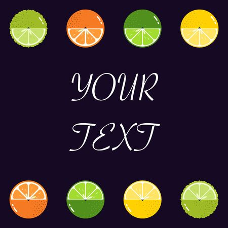 Fruits Citrus diversely oriented seamless vector pattern isolated with space for text