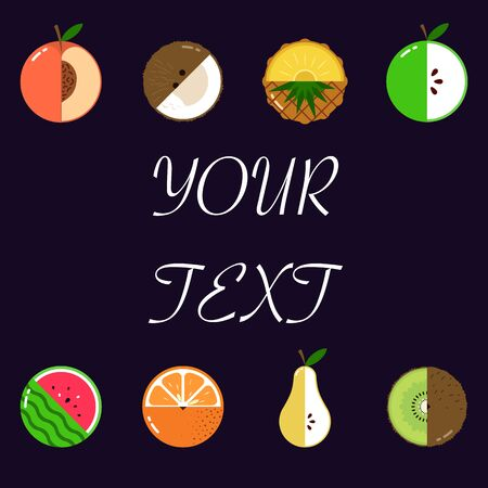 Fruits diversely oriented vector pattern isolated with space for text