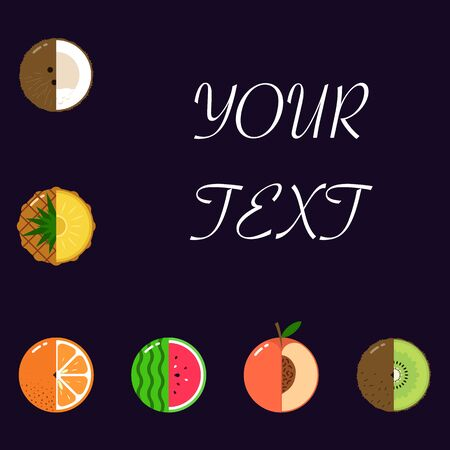 Fruits equally oriented vector pattern isolated with space for text