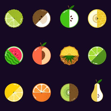 Fruits diversely oriented seamless vector pattern isolated