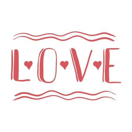 LOVE 2 hand lettering card - handmade calligraphy. . St Valentines handmade sketch. scalable and editable vector illustration. Çizim