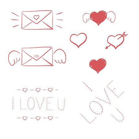 Set 2 of St Valentines handmade greeting cards - handmade calligraphy. scalable and editable vector illustration.