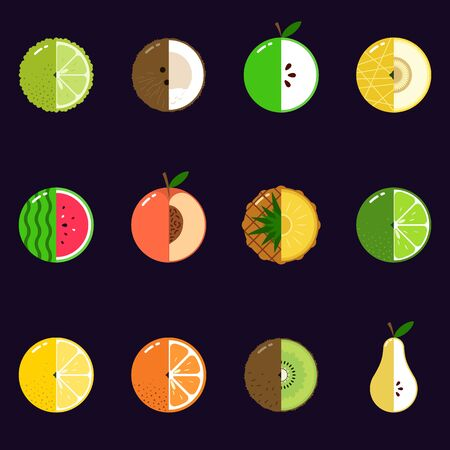 Fruits equally oriented seamless vector pattern isolated