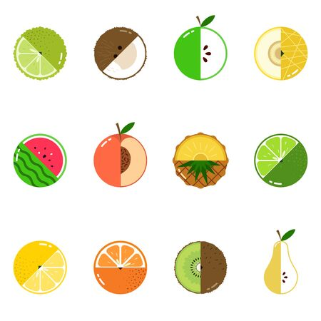 Fruits diversely oriented seamless vector pattern on white background